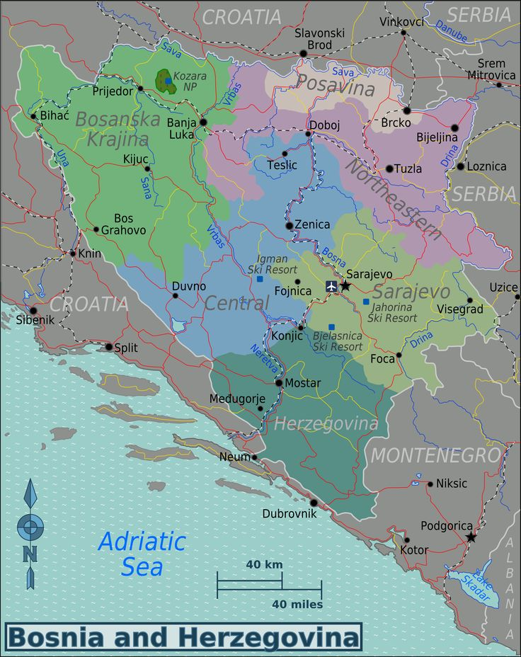 Map of Bosnia and Herzegovina (Map Regions)