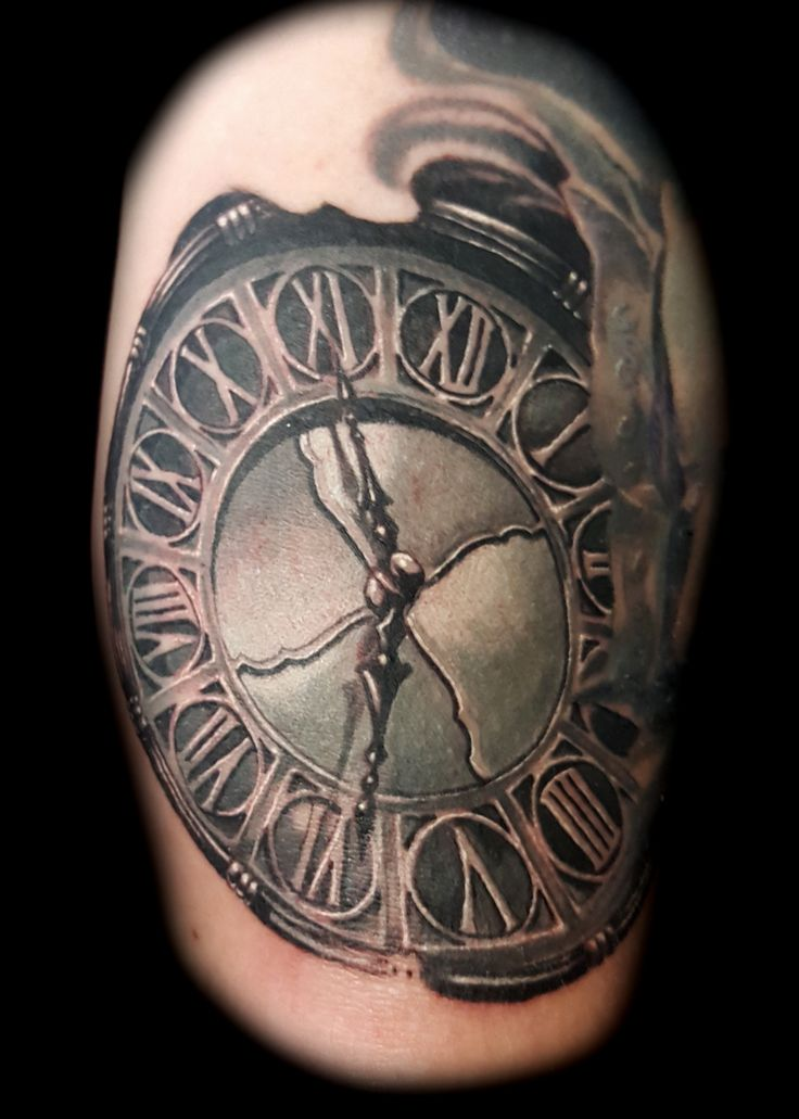Clock Tattoo  by steve thrasher at Inner Visions Tattoo Shops in Las Vegas Strip
