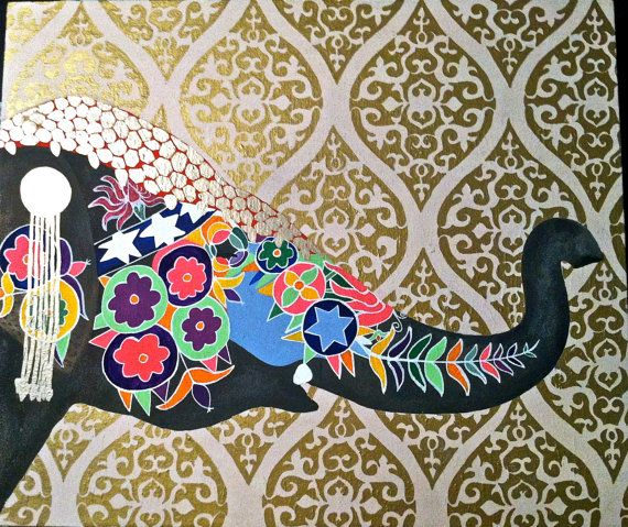 Moroccan//Bohemian//Indian Decorative Elephant with Gold ...