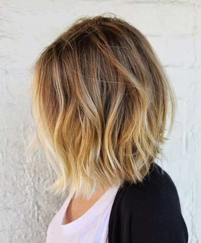 Balayage Blond Sur Cheveux Brun Carre Court