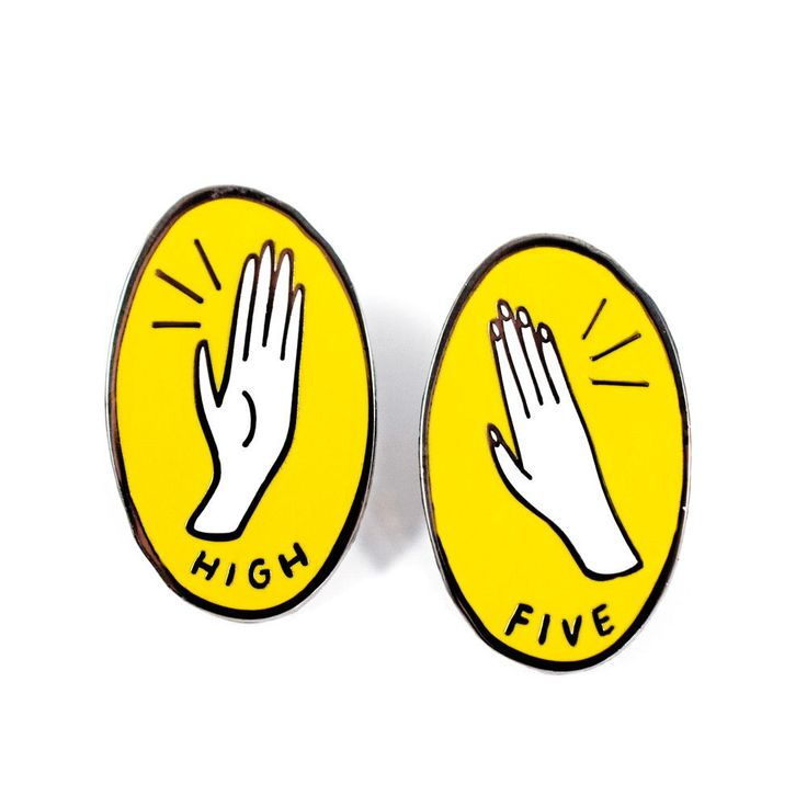 "Bring it up top with this High Five Pin Set by Sunny Eckerle! The perfect celebratory gift for you and your BFF. • Two 1"" Hard Enamel Pins • Design by Sunny Eckerle"