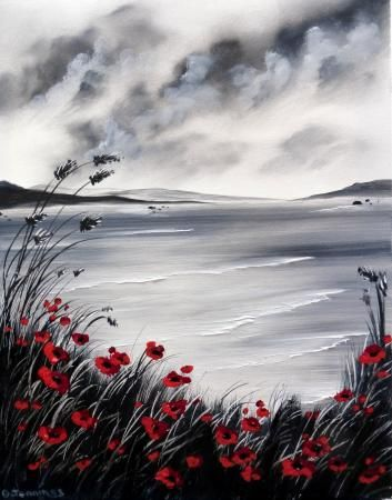 Artwork Stormy Poppies, General, Diane Jennings, SAA Professional Members' Galleries