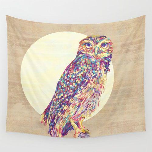 Owl wall tapestry. Pinned by www.myowlbarn.com