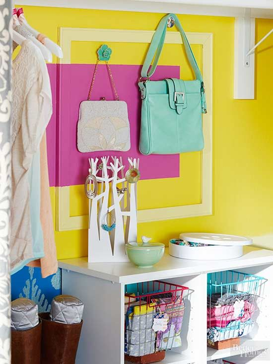 Bedrooms are often the repository of all sorts for odd-shape things -- purses and bags, for example. Those items may not fit neatly on shelves, leading to all sorts of bedroom clutter. To better evaluate and store what you have, use slim spaces such as narrow shelves or a series of hooks on a wall.