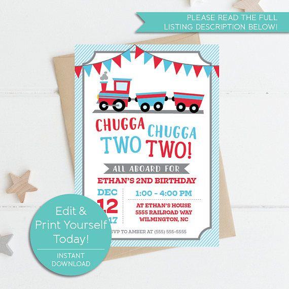 Chugga Two Birthday Invitation 2nd Train