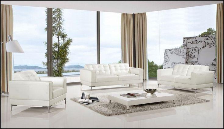 3 Piece White Leather sofa Set