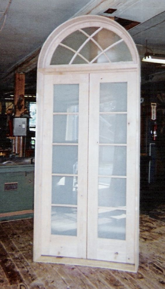 Custom built wood french doors - interior double french door with gothic transom window unit, frosted glass