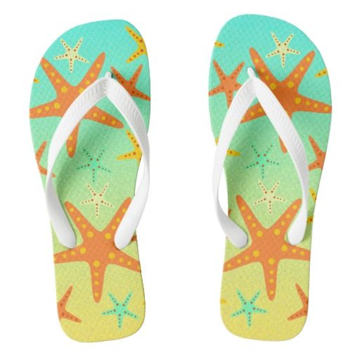Enjoy a sunny day at the #beach with a pair of colorful #flipflops. An unique combination of #starfish, sand and ocean.