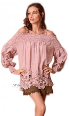 8c51fcde8d64b Magnolia Ladies Long Sleeve Fun Crochet Blouse In Mauve  boutiqueshopping   boutiquefashion  fashion