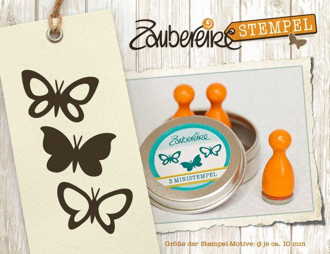 """Ministempel - Drei Mini-Stempel """"Schmetterlinge"""" im Döschen - ein Designerstück von Zaubereike bei DaWanda"""