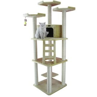 Features:  -Covered with beige faux fur.  -Easy to assemble with step by step instruction and tools.  -Non-skid: No.  -All scratching posts are wrapped in 100% cured sisal for long-lasting scratchabil