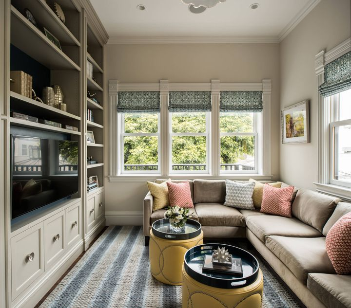 cozy family room with built-in shelves