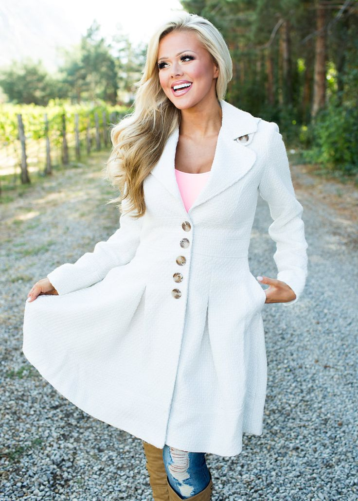 Most Elegant Pea Coat White - Modern Vintage Boutique