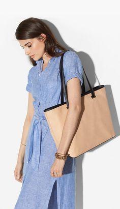 summery linen dress + a nude work bag | skirttheceiling