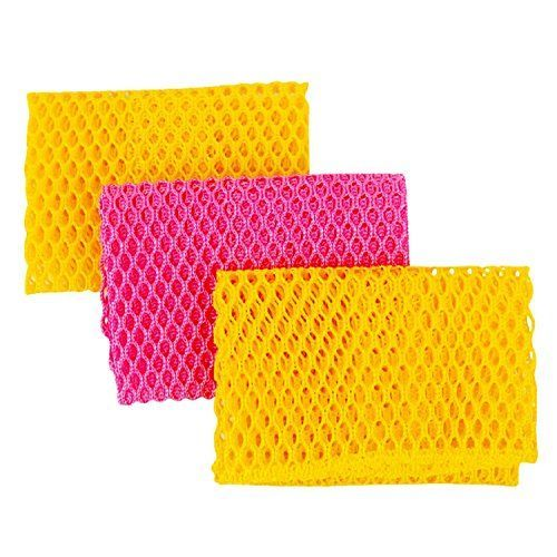 Innovative Dish Washing Net Cloths / Scourer - 100% Odor Free / Quick Dry - No More Sponges with Mildew Smell - Perfect Scrubber for Washing Dishes - 11 by 11 inches - 3PCS - Yellow/Pink/Yellow or Pin