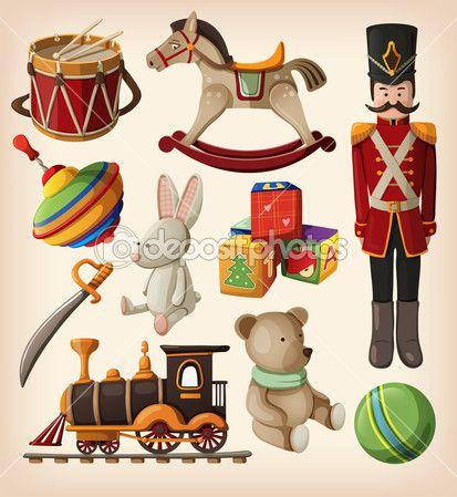 набор красочных старинных рождественских игрушек — Векторная картинка #15649975