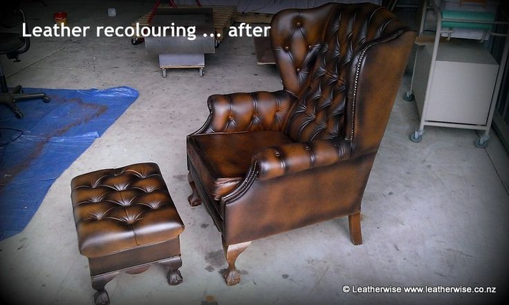 Leather wingback armchair and matching footstool after antique recolouring.