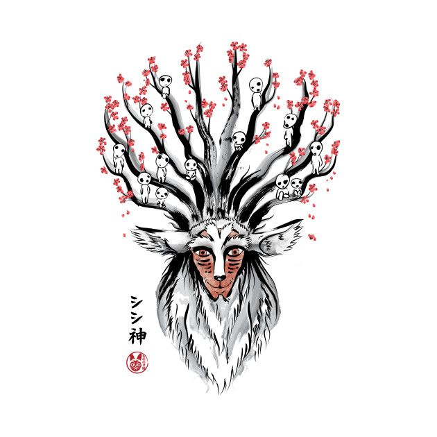 THE DEER GOD SUMI-E T-Shirt - Princess Mononoke T-Shirt is $11 today at Ript!