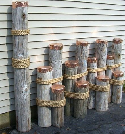 Nautical decor mooring dolphins or dock pilings for for Home decor items on sale