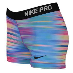 "Nike Pro 3"" Compression Shorts - Women's - Blue Lagoon/Fuchsia Flash/Black"