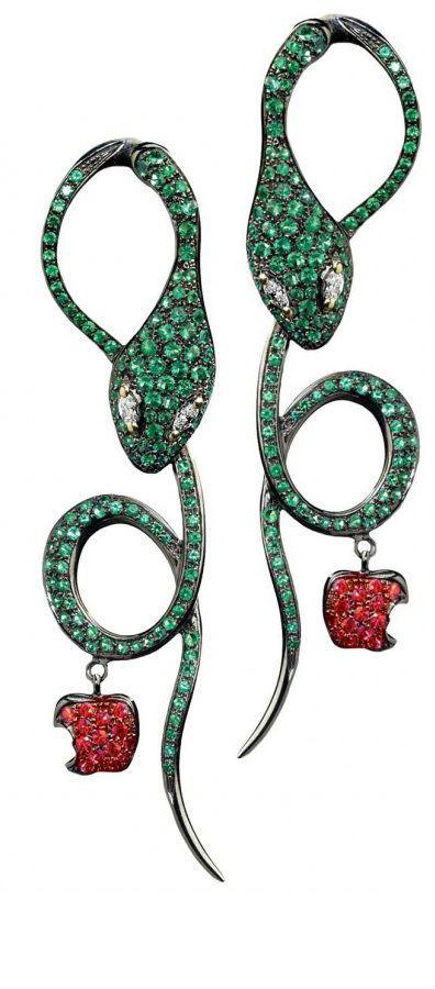 Snake thy Apple Earrings by Dada Arrigoni - Emeralds, Rubies, and Diamonds..
