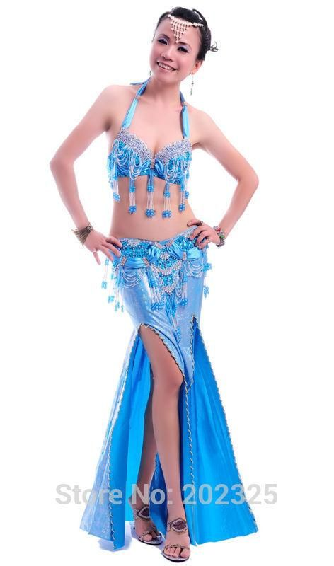 06065310c2 Free shipping belly dance costume suit with laser cut patterns for  performance practice  Bra   belt   wrap skirt -Narnia6008