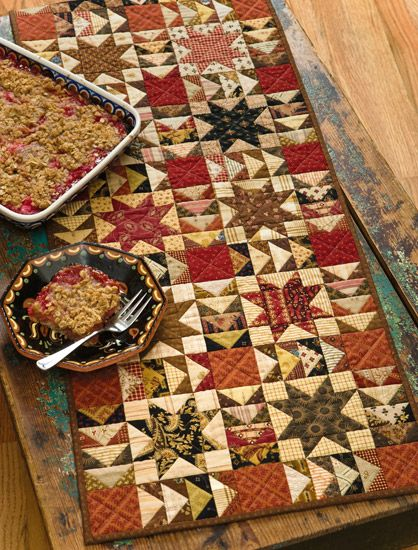 Rhubarb Crisp Runner from Skinny Quilts and Table Runners II...how to sew flying geese - 4 techniques