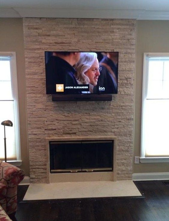Tv Mounting Over A Stone Fireplace In Glen Cove Ny By Luis