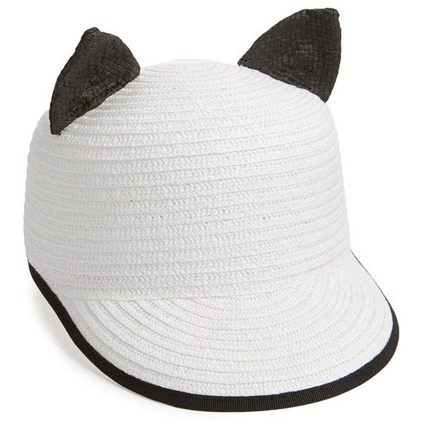 white baseball cap hats black cat ear ebay