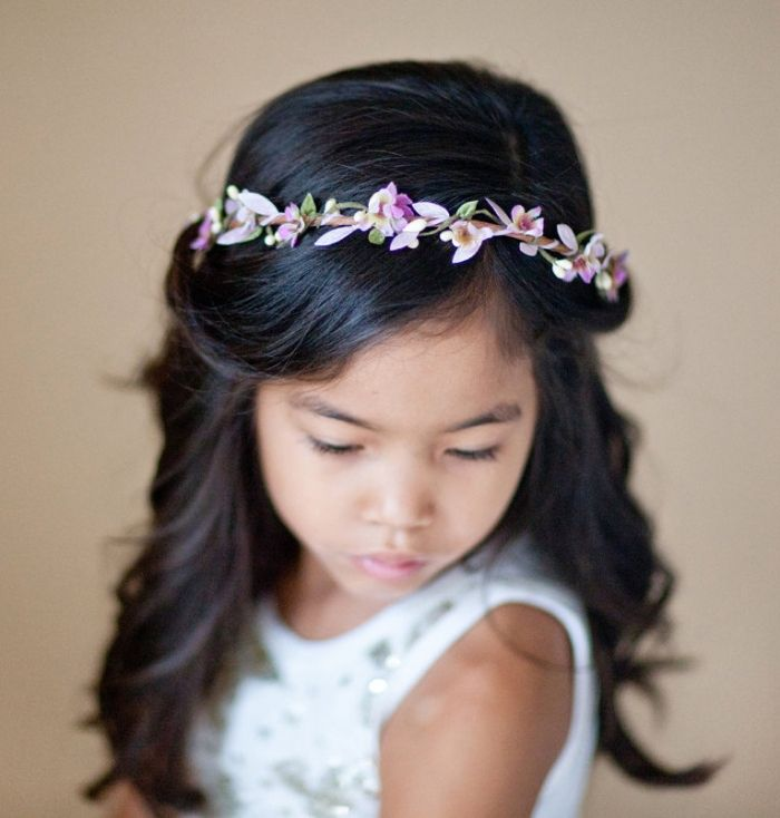 12 Adorable Flower Girl Hair Accessories - Braiding in pink, purple, and green, we love this fairy-inspired crown by thehoneycomb.
