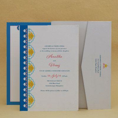 Spanish Blue: Wedding Invitation Cards Designs Buy Spanish Blue: Wedding Invitation Cards Online. #WeddingCard #WeddingInvite #WeddingInvitations #WaterColor #IndianWedding #paisleys #ChristianWedding #YouAreInvited #Foil #Gold #Bling #Blue #Violet #RSVP #SaveTheDate