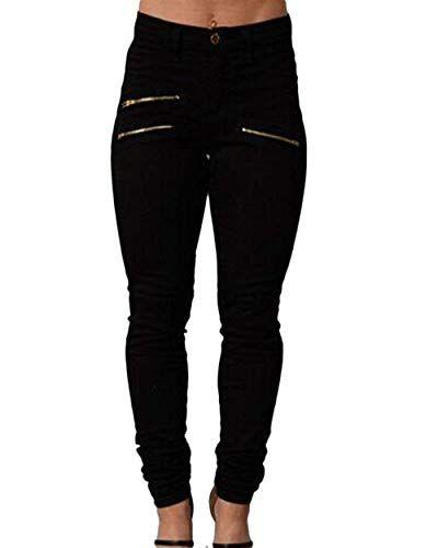96e4efd894 Leggings para Mujer Cremallera Cintura Alta Leggings Pantalones Color  Bastante Elásticos Sólido Botón Slim Fit Lápiz