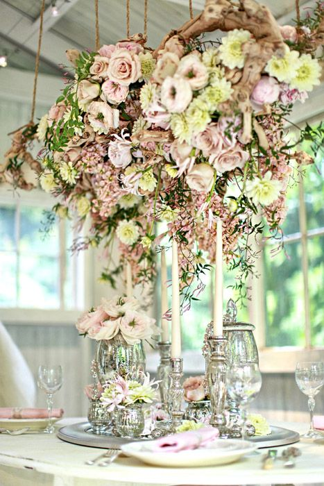 STUNNING!  Why take up valuable space on the table for your florals... suspend them from the ceiling!  Gives you a chance to put all kinds of other pretty items on the table that you usually don't have room for!