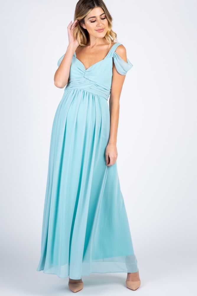 5e6685597551 Light Blue Chiffon Pleated Open Shoulder Maternity Evening Gown ...