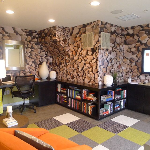 Remarkable home office design with contemporary carpet tiles applied stone like wallpaper and darkwood office desk