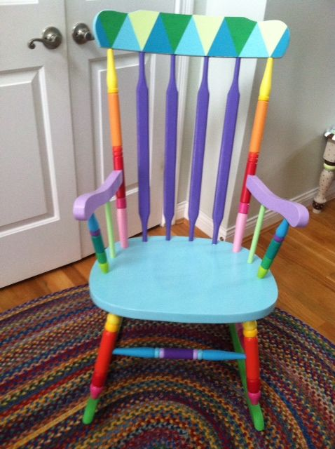 painted rocking chairs painted stools funky painted furniture teacher ...