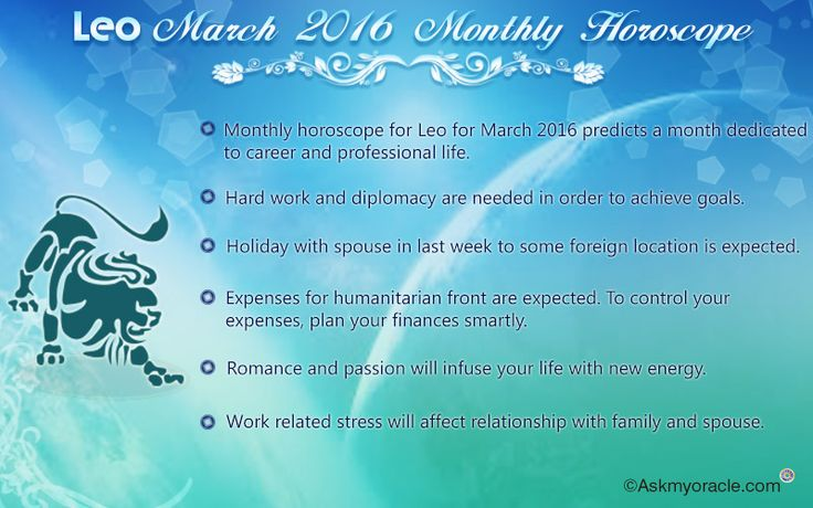 Free monthly horoscope for Leo sun sign for March 2016 predicts that your complete focus for these 31 days will be your professional life as planets will be quite supportive in helping you achieve your career goals.