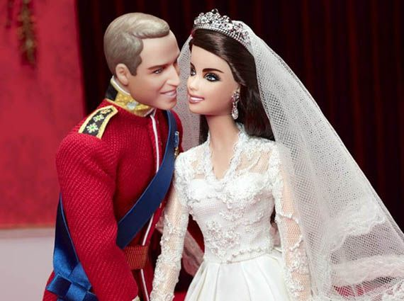 William and Kate: Royal Wedding Barbie Dolls. (William wishes he still had that much hair, but the likenesses are both pretty good.)