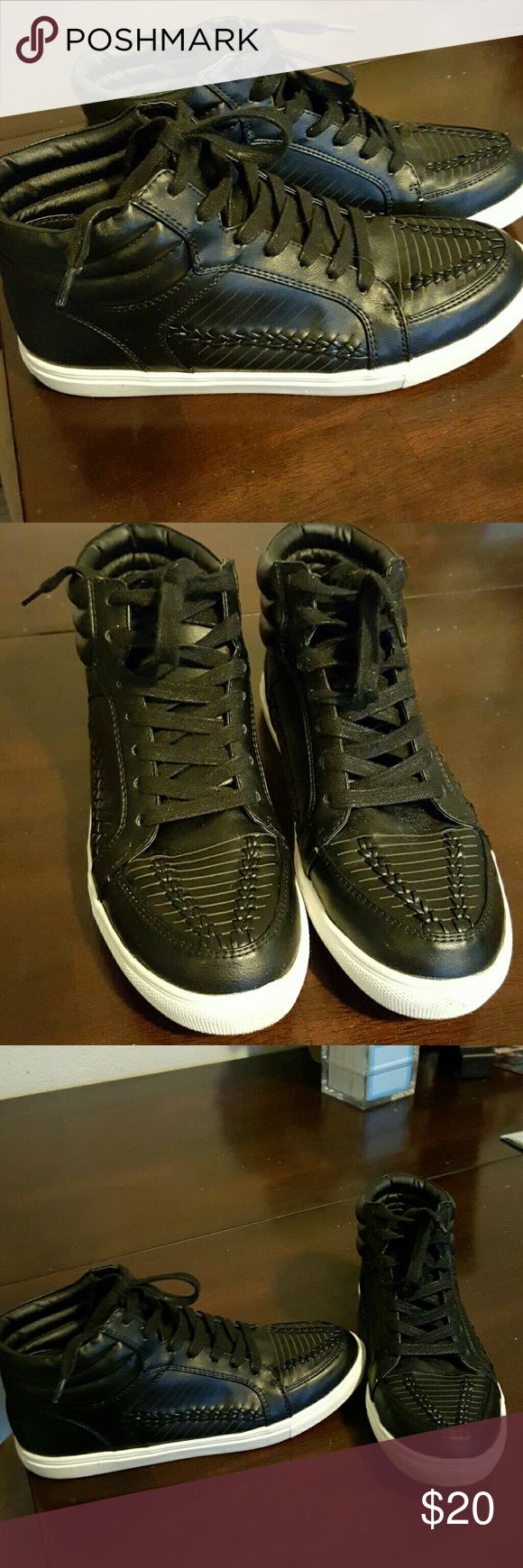 Ladies High top Sneakers Black w/ white soles,weaved pattern on sides and toe. Super cute and only worn 2x Fergalicious Shoes Sneakers