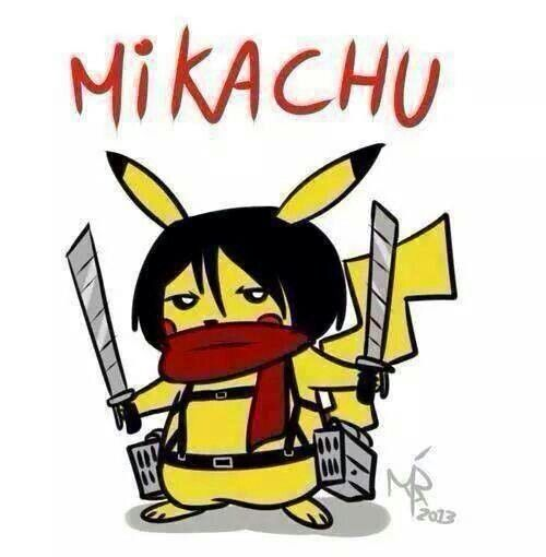 Mikachu - attack on titan and pokemon crossover #anime #manga