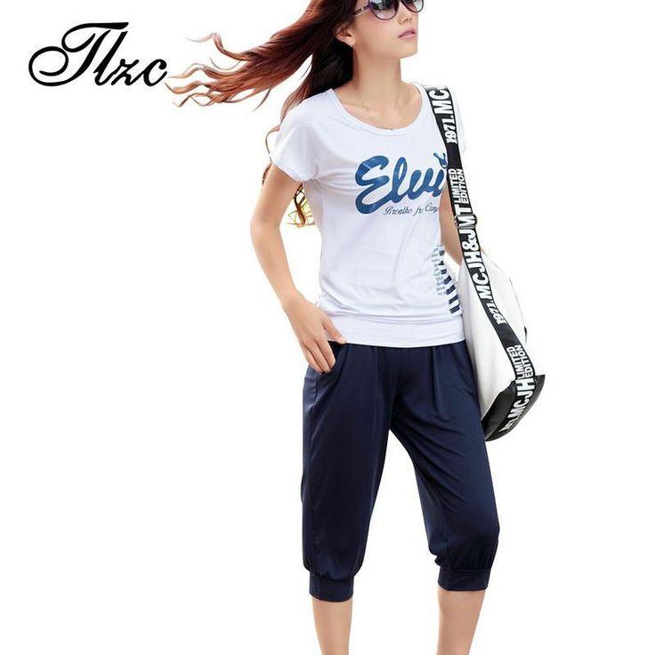 Tlzcシルケット綿レディーファッションジャージビッグサイズ3xl-4xl 2017夏tシャツ+カプリパンツ女性カジュアルスポーツウェア