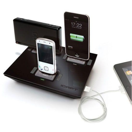 iDapt - universal charging dock I need thiss!: Photos Galleries, Charging Dock, Phones Chargers, Charging Cable, Idapt Charging, Chargers Dock, Offices Gadgets, Gadgets Geek, Charging Stations