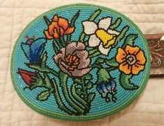 beaded belt buckle. Native American beadwork.
