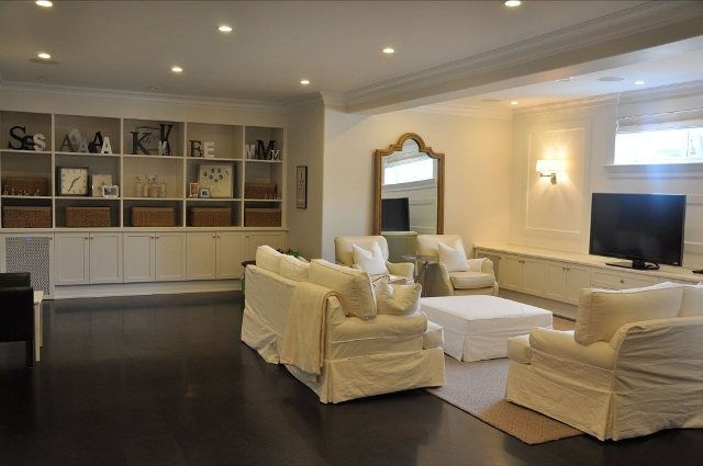 Love this BRIGHT & LIGHT basement!Basements Vision, Basements Built In, Bookcases, Finish A Basements, Finish Basements, Beautiful Basements, Basements Ideas, Basements Oh, Basements Inspiration