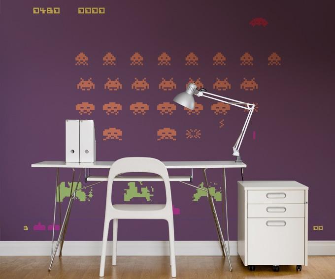 Huisraad en meer....: kleurrijk behang workspace Space Invaders!  pinned by www.funkyfabrix.com.au