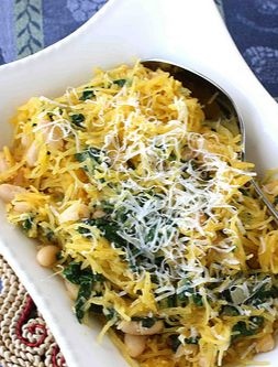 This is the recipe that made me fall in love with spaghetti squash.  With Spinach, Feata & Basil White Beans | cookincanuck.com #vegetarian