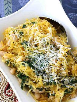 Spaghetti Squash Recipe with Spinach, Feta & Basil White Beans ...