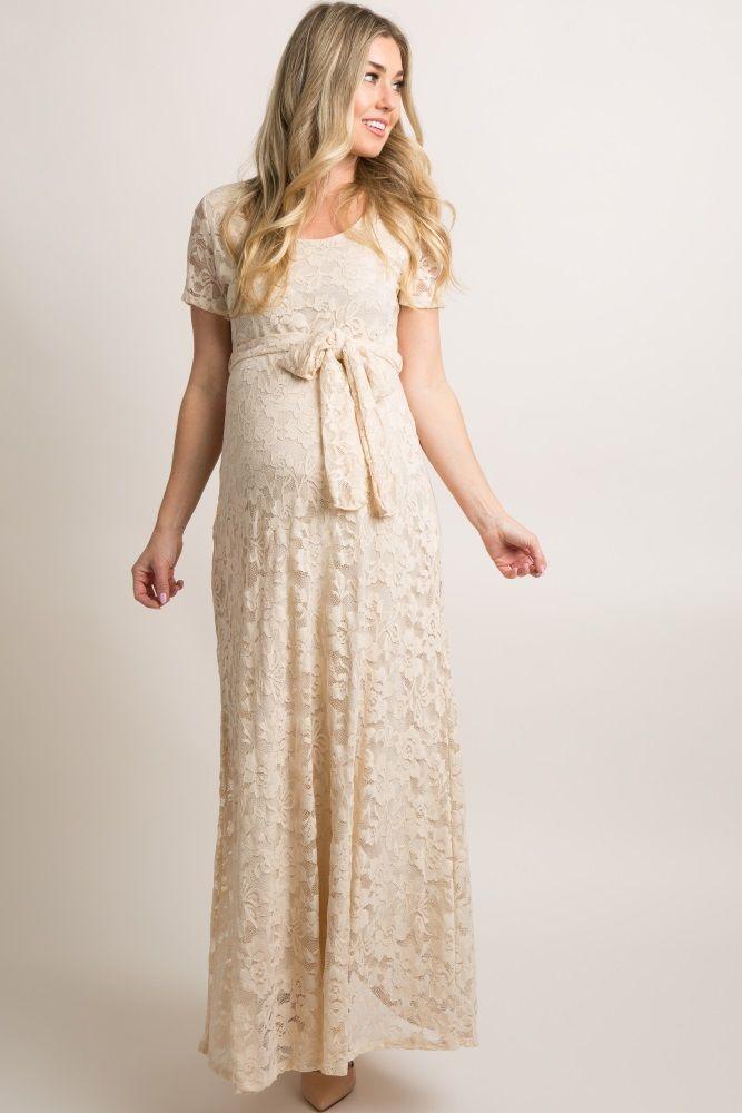 67eba90bd53b9 Ivory Lace Sash Tie Maternity Gown   EZ McCoy Wedding 2018 ...