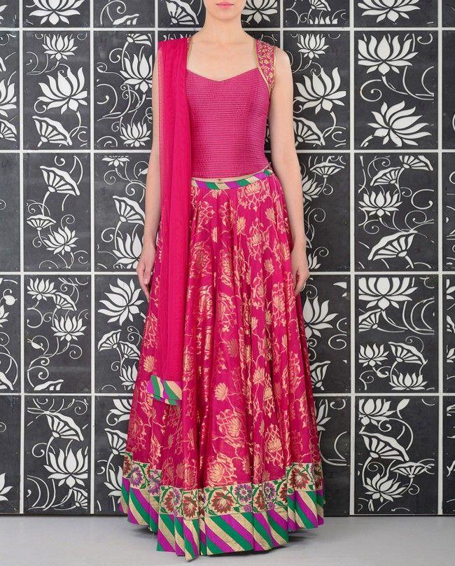 Fuchsia Brocade Lengha Set - Rohit Bal - Designers