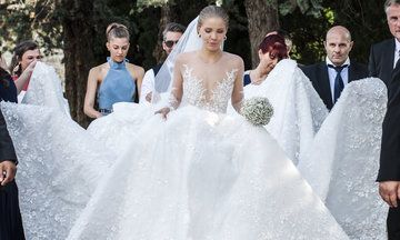 Victoria Swarovski's Wedding Dress Weighed 7st 3lbs And Was Covered In 500,000 Crystals | HuffPost UK
